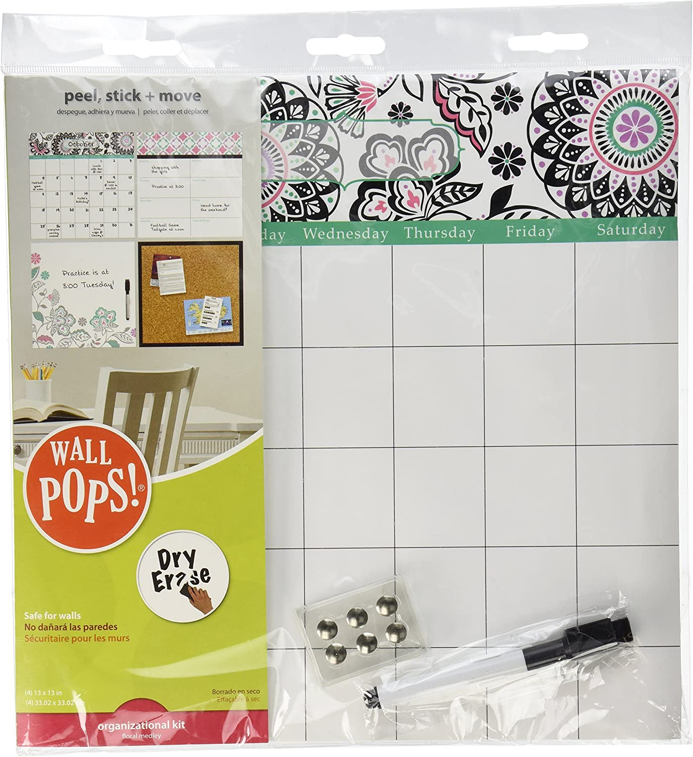 Wall Pops WPE0755 WPE0755 Floral Medley Organizer Kit Wall Decals