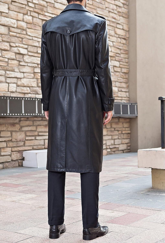 PENER Autumn Mens Fashion Suit Collar Long Leather Windbreaker Jacket