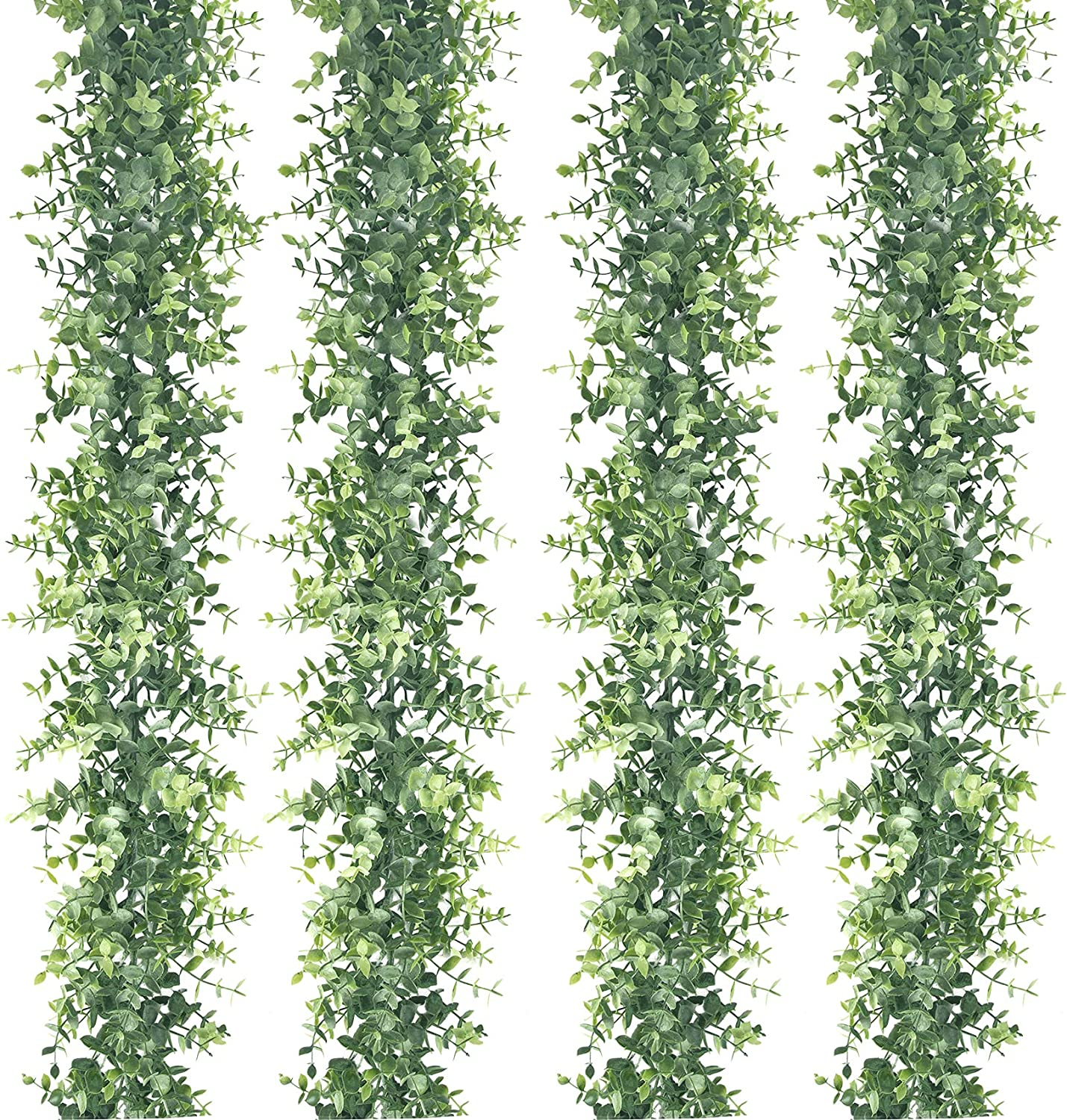 4 Pack Eucalyptus Garland 24 Ft Greenery Ivy Garland Eucalyptus Leaves Fake Vines for Wedding Backdrop Arch Wall Decor Artificial Hanging Plants for Indoor Outdoor Table Festival Party Decor (Frosted)