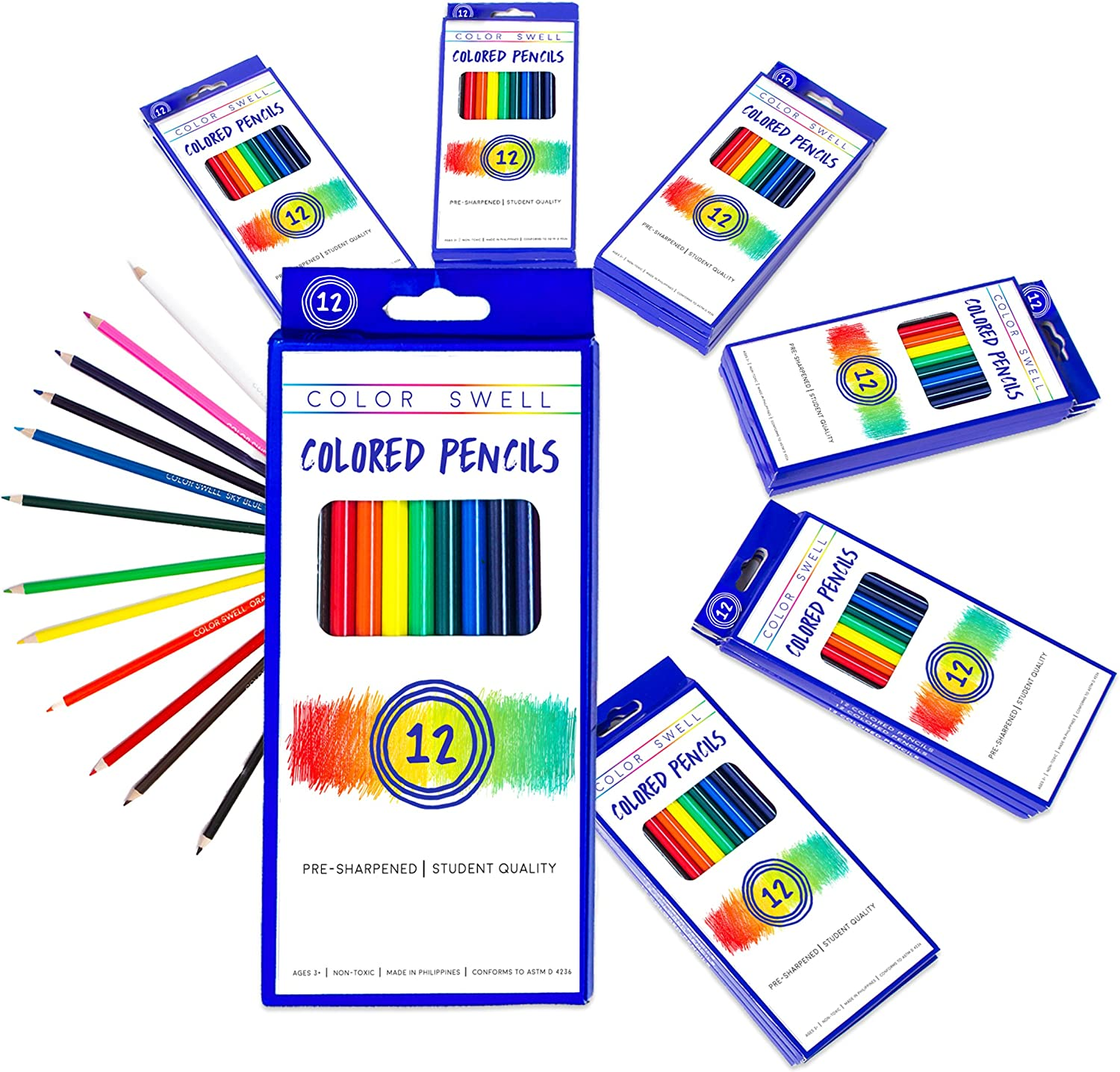 Color Swell Colored Pencils Bulk Pack 30 Sets 12 Count Assorted Vibrant Pre-Sharpened Colors 360 Total Perfect for Kids, Teachers and Classrooms