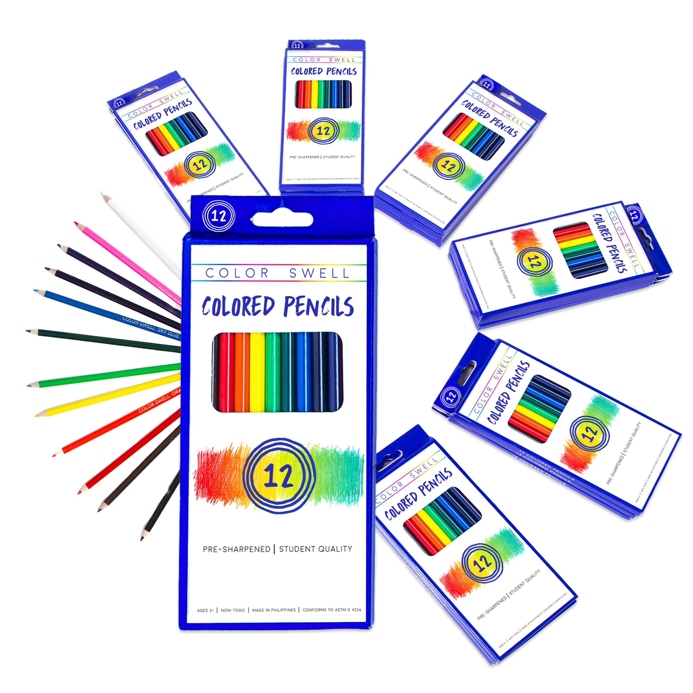 Color Swell Colored Pencils Bulk Pack 30 Sets 12 Count Assorted Vibrant Colors 360 Total Perfect for Kids, Teachers and Classrooms