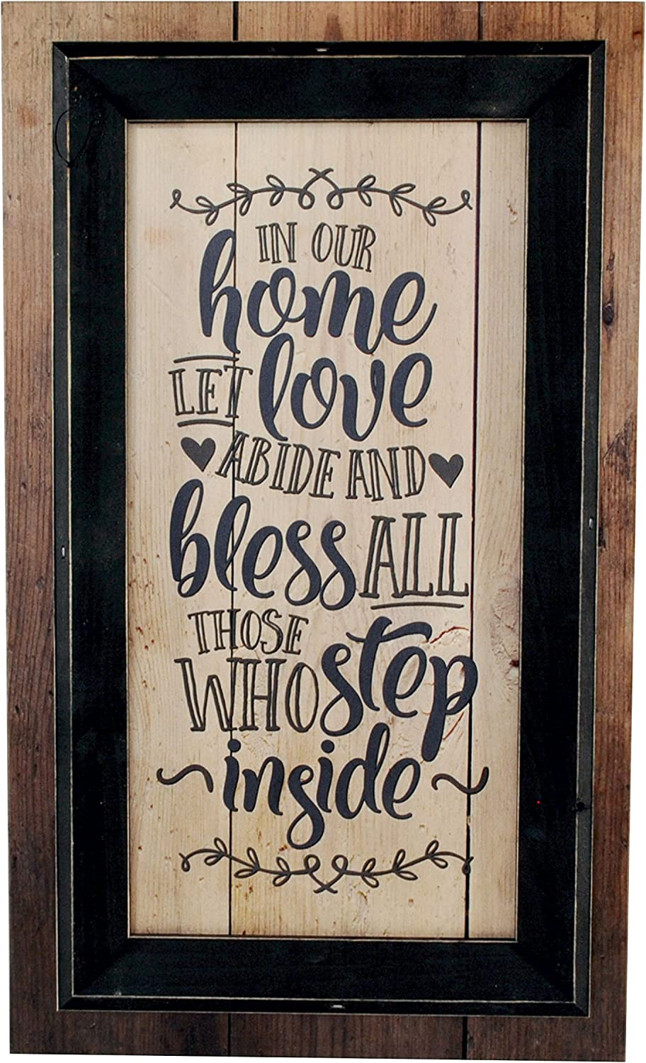 MRC Wood Products in Our Home Let Love Abide and Bless All Those Who Step Inside Framed TimberPrintz Pallet Sign 12x20