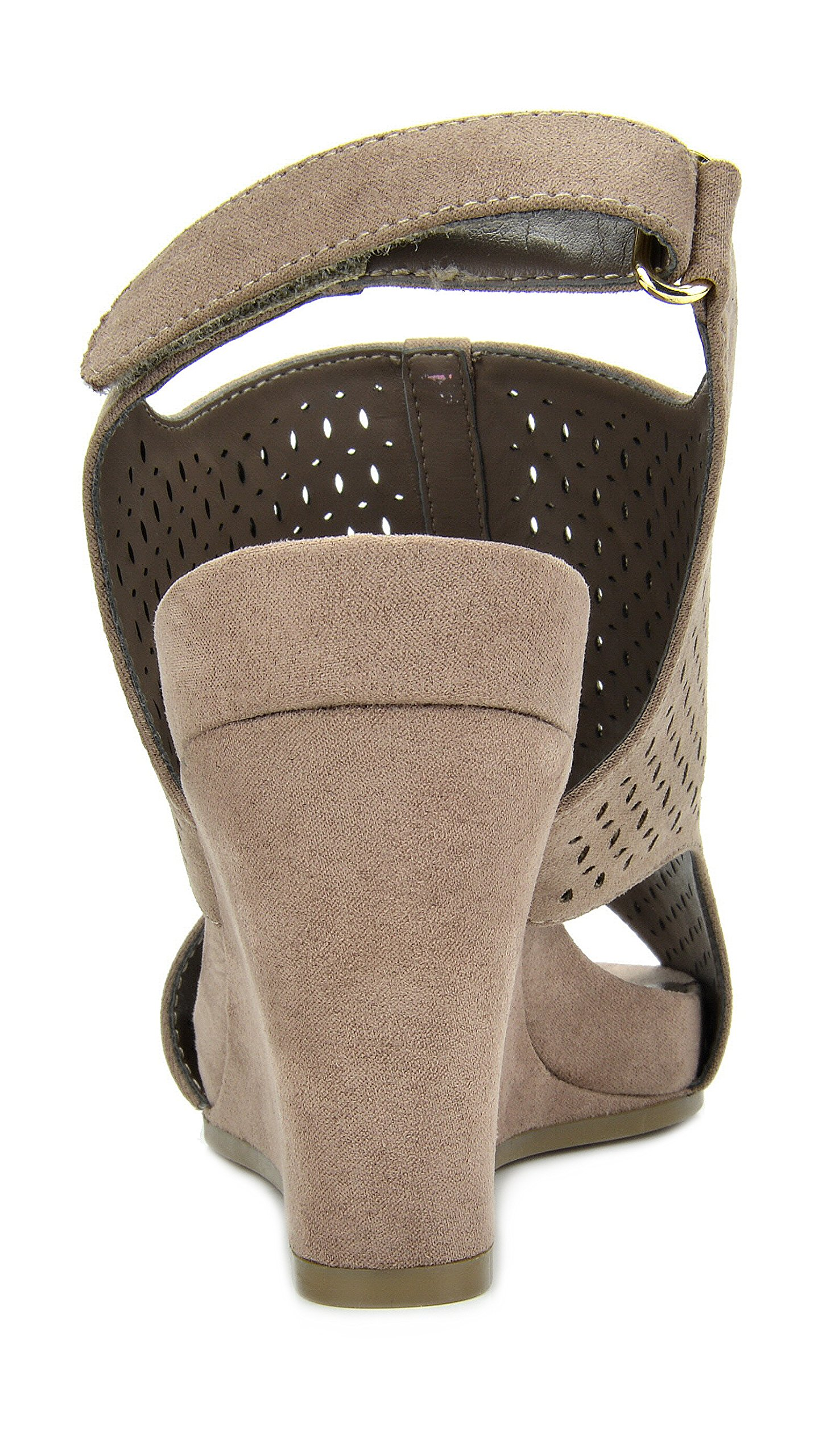 TOETOS Women's Solsoft-6 Taupe Mid Heel Platform Wedges Sandals - 9.5 M US by TOETOS (Image #6)