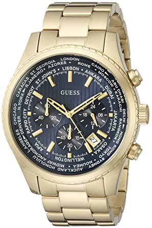 67c62474843 Buy GUESS Men s U0602G1 Dressy Gold-Tone Stainless Steel Multi-Function  Watch with Chronograph Dial and Deployment Buckle Online at Low Prices in  India ...