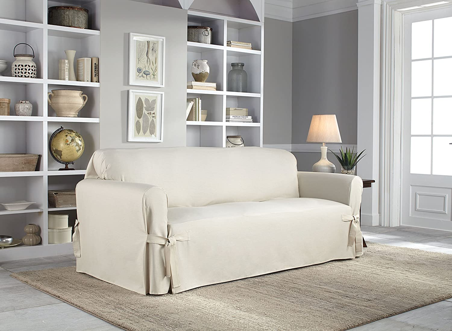 Serta Relaxed Fit Duck Slipcover Box Cushion Decorator Set (3 Piece), Natural Perfect Fit Industries 864806