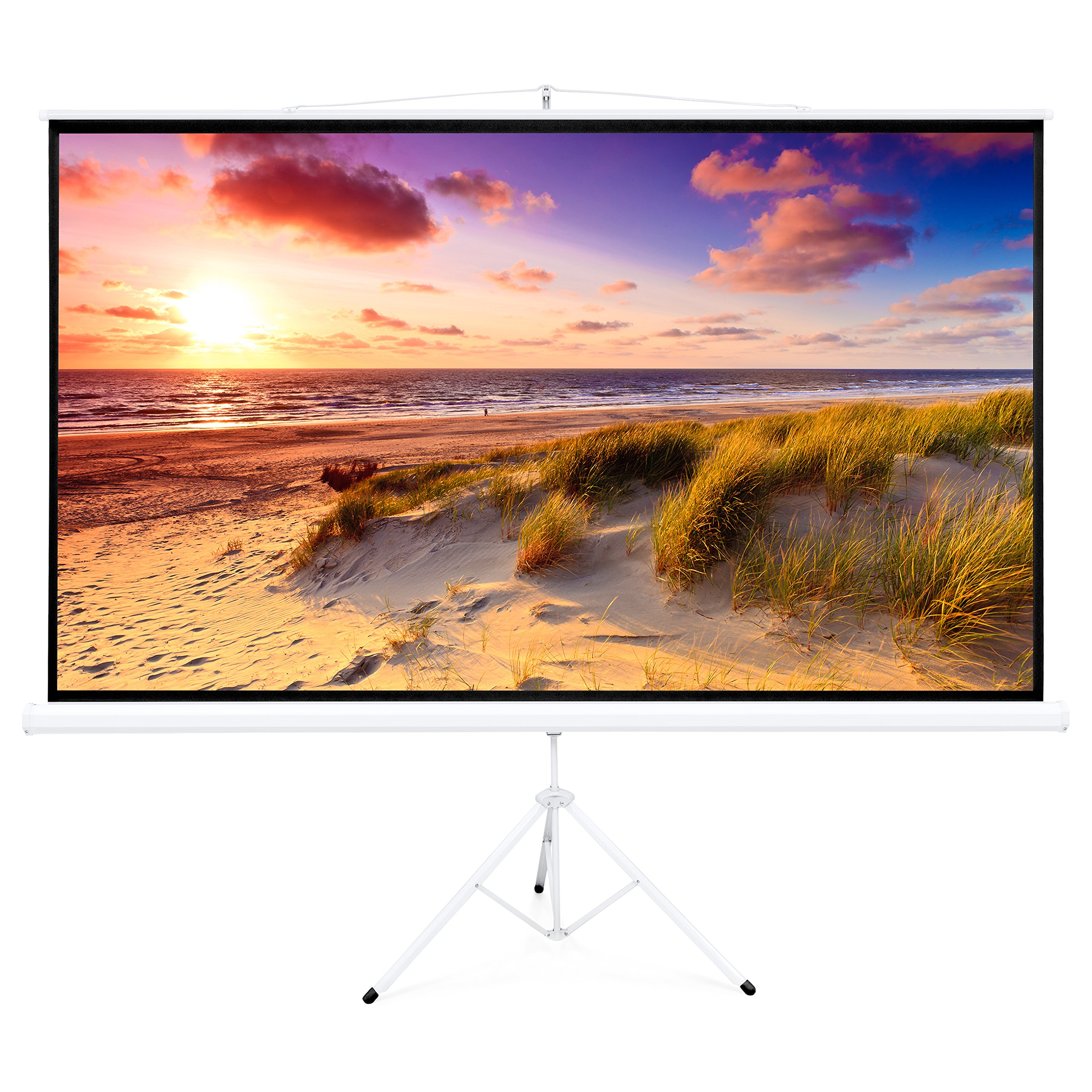 Best Choice Products 100in Portable 16:9 Projection Screen w/87x49in Foldable Stand, 1.3 Gain - White by Best Choice Products