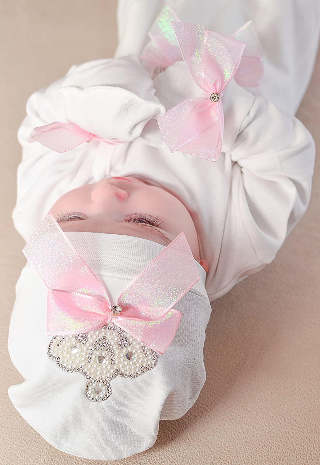 Lilax Baby Girl Jewels Crown Layette 3 Piece Gift Set