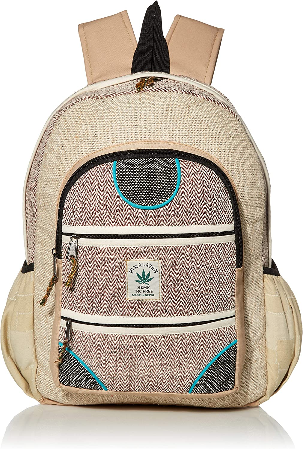 All Natural 100% Pure Hemp Multi Pocket Backpack (THC FREE) with Laptop Sleeve - Fashion Cute Travel School College Shoulder Bag/Bookbags/Daypack