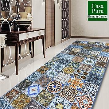 casa pura Tapis Carreau Ciment Tapis Multicolore | 100% Polyamide ...