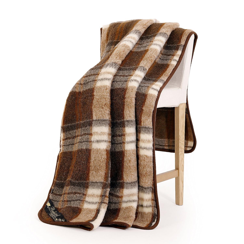 Schurwolle Merino Wolldecke 100% Natur Decke Wohndecke Bettdecke Tagesdecke 100% Wolle (180 x 200 cm, Quadrate Braun)