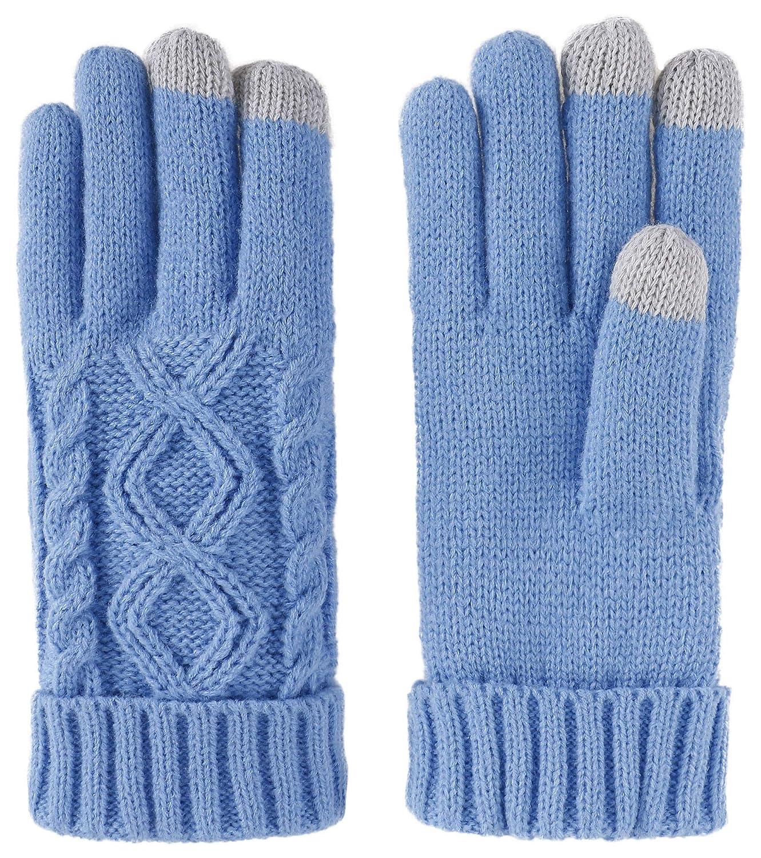 Livingston Women's Cable Knit 3 Finger Touchscreen Sensitive Winter Gloves Black