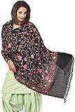 Weavers Villa - Women's Kashmiri Floral Embroided Black Woollen Shawls , Stoles