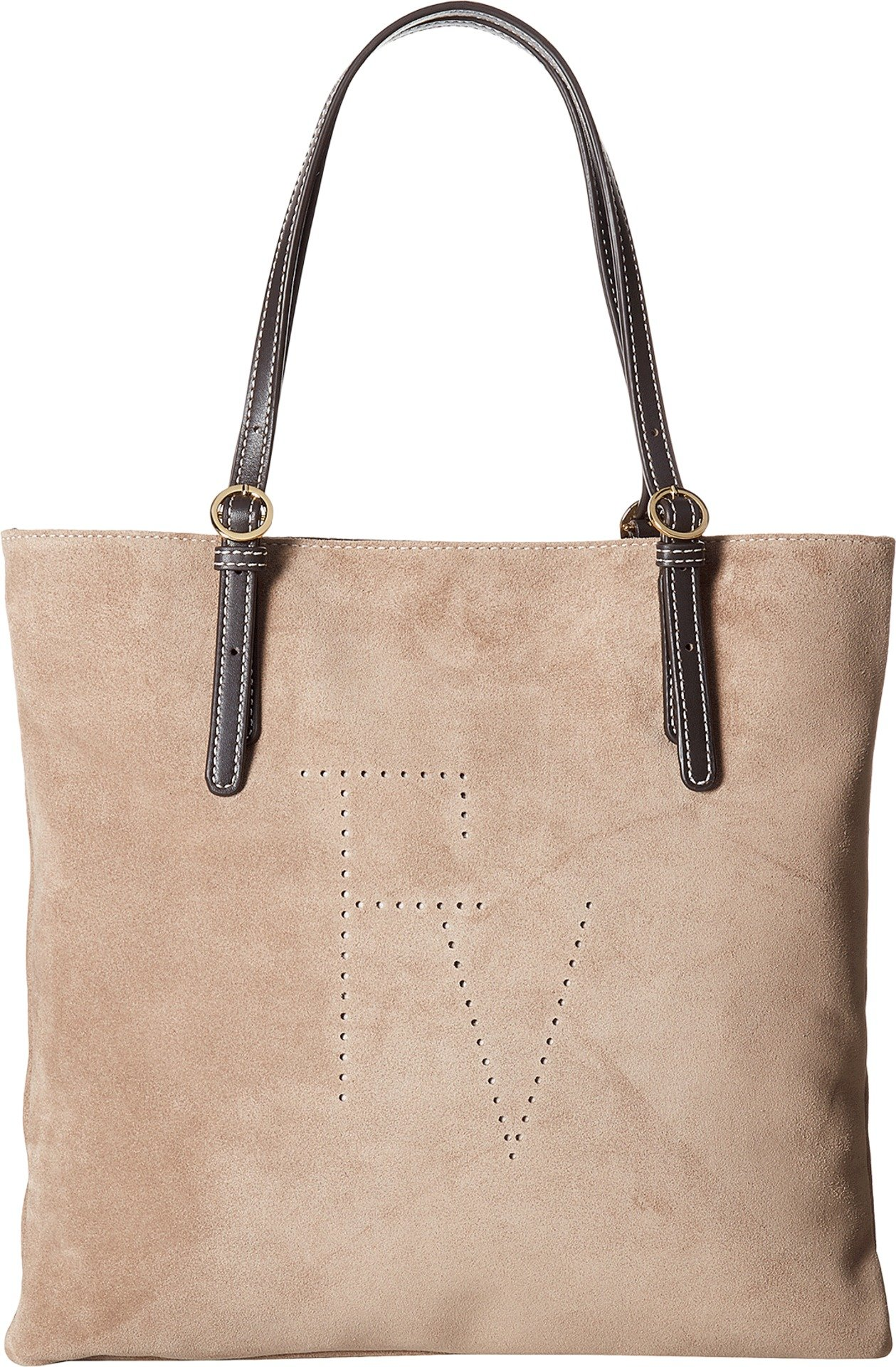 Frances Valentine Women's Suede w/ Calf Trim Top-Handle Flat Tote Stone One Size