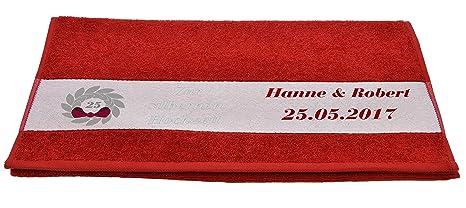 Estampado de toallas (– Diseño Bodas de plata con nombres en 7 colores diferentes,