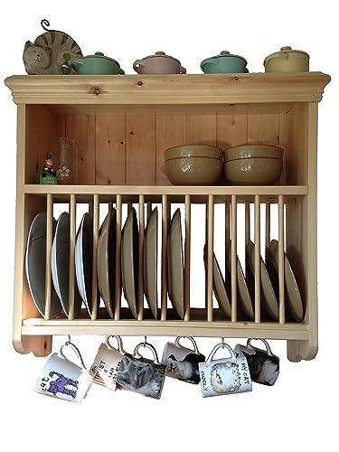 Pine Plate Rack (PR2 70)  sc 1 st  Amazon UK & Wall Mounted Wooden Plate Rack - Large: Amazon.co.uk: Kitchen u0026 Home
