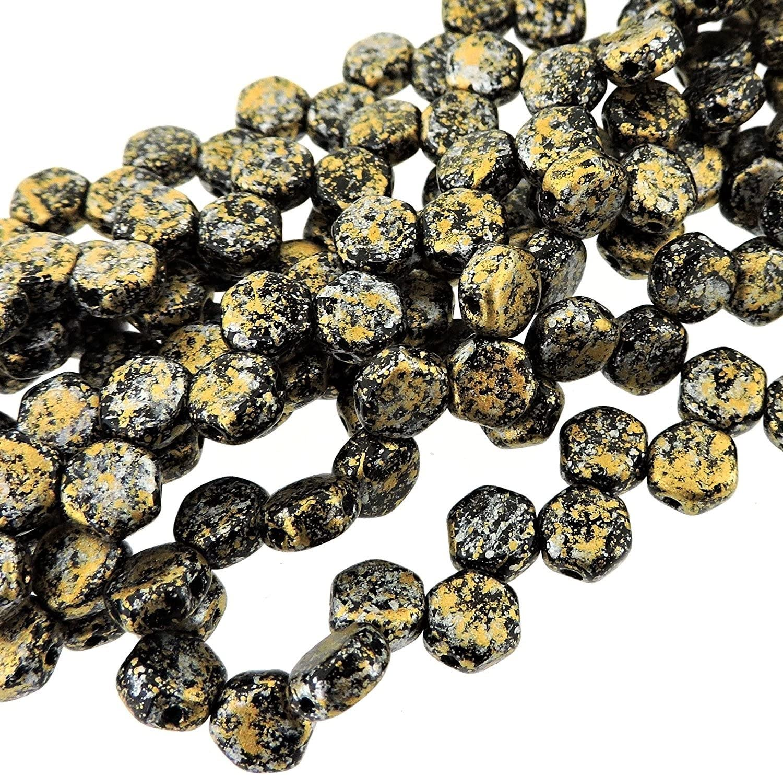 30x Czech Honeycomb Beads 6mm Hexagonal 2 Hole Tweedy Yellow