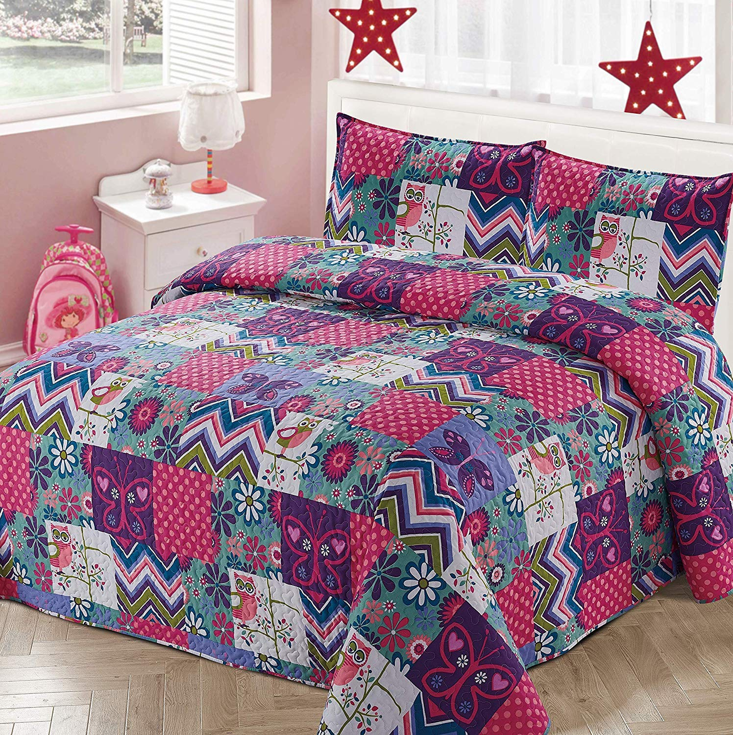 Luxury Home Collection 2 Piece Twin Size Quilt Coverlet Bedspread Bedding Set for Kids Teens Girls Patchwork Butterfly Owls Flowers Hearts Pink Purple White Blue Green (Twin Size)