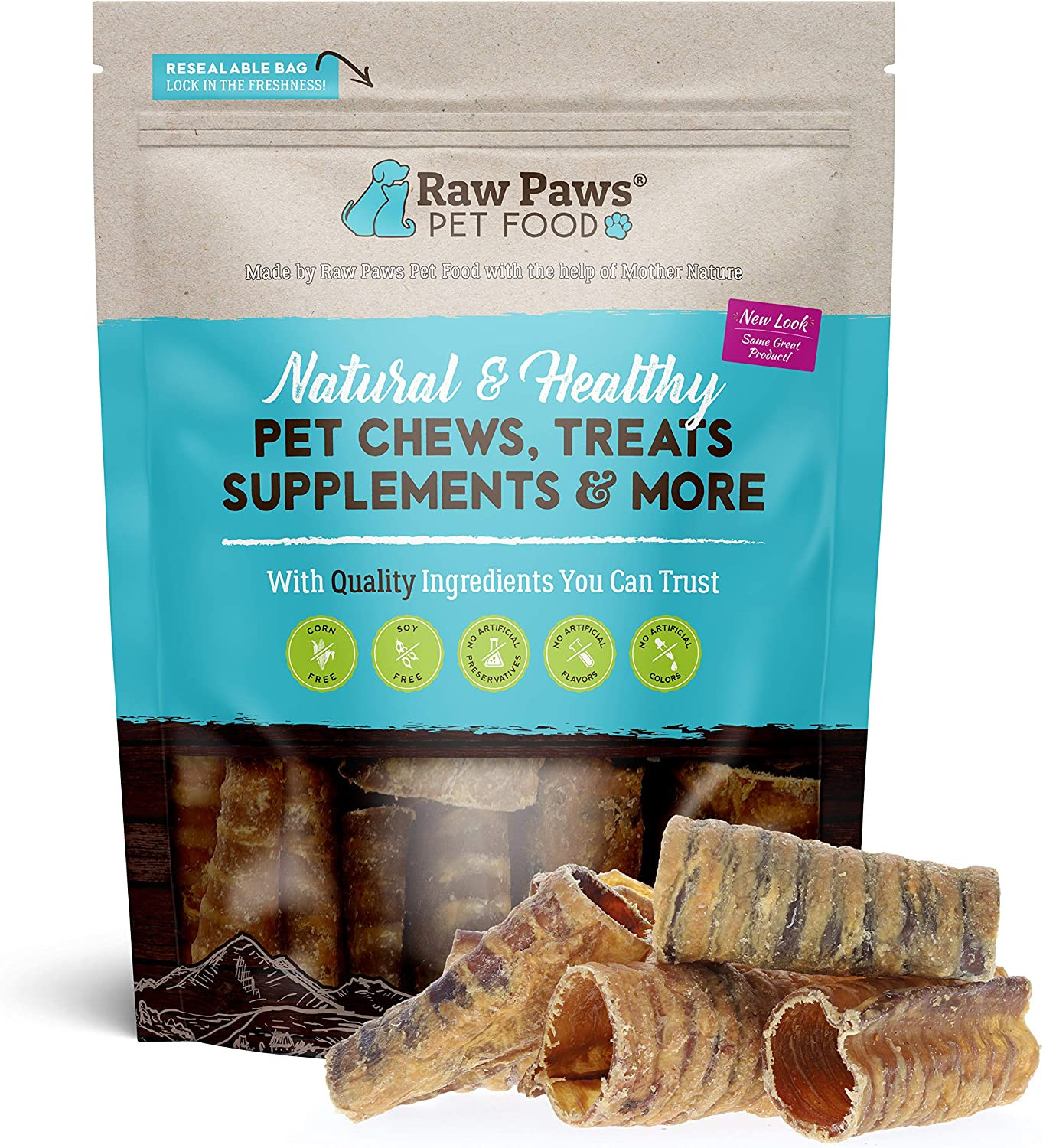 Raw Paws 3-inch Beef Trachea Dog Chews, 10 Pack - Packed in USA - Dehydrated Beef Trachea for Dogs from Free-Range, Grass-Fed Cows - Trachea Dog Treats are a Healthy Rawhide Alternative for Dogs