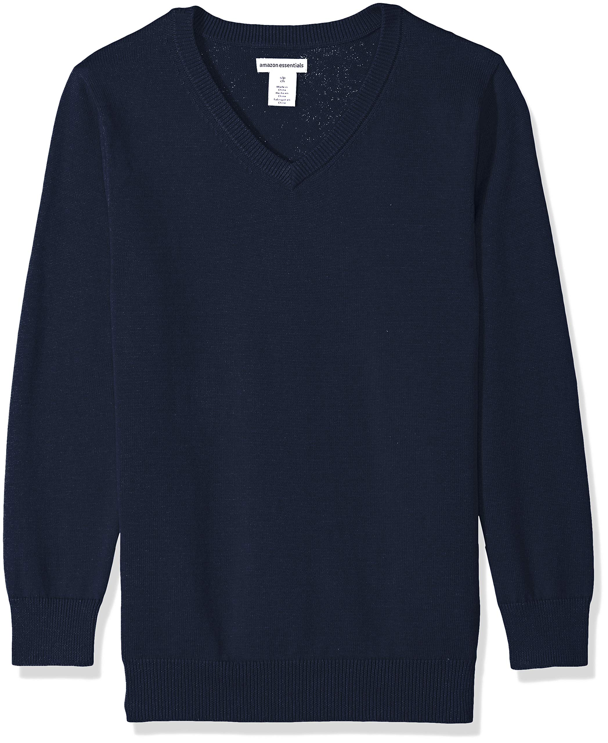 Amazon Essentials Big Boys' Uniform V-Neck Sweater, Navy Blazer, XL