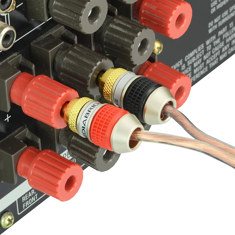 7 Pair//14 Banana Plugs Corrosion-Resistant 24K Gold-Plated Connectors Part# SPC-BP2-7 Mediabridge Banana Plugs
