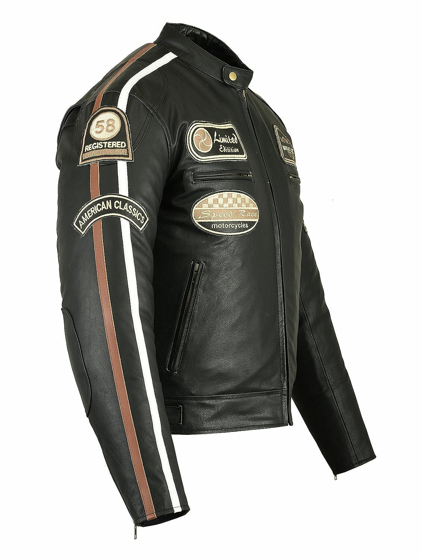 Bstarmoto Chaqueta De Cuero Para Moto, Chaqueta Con Protecciones, Leather JAcket With Protections (Negro, S): Amazon.es: Coche y moto