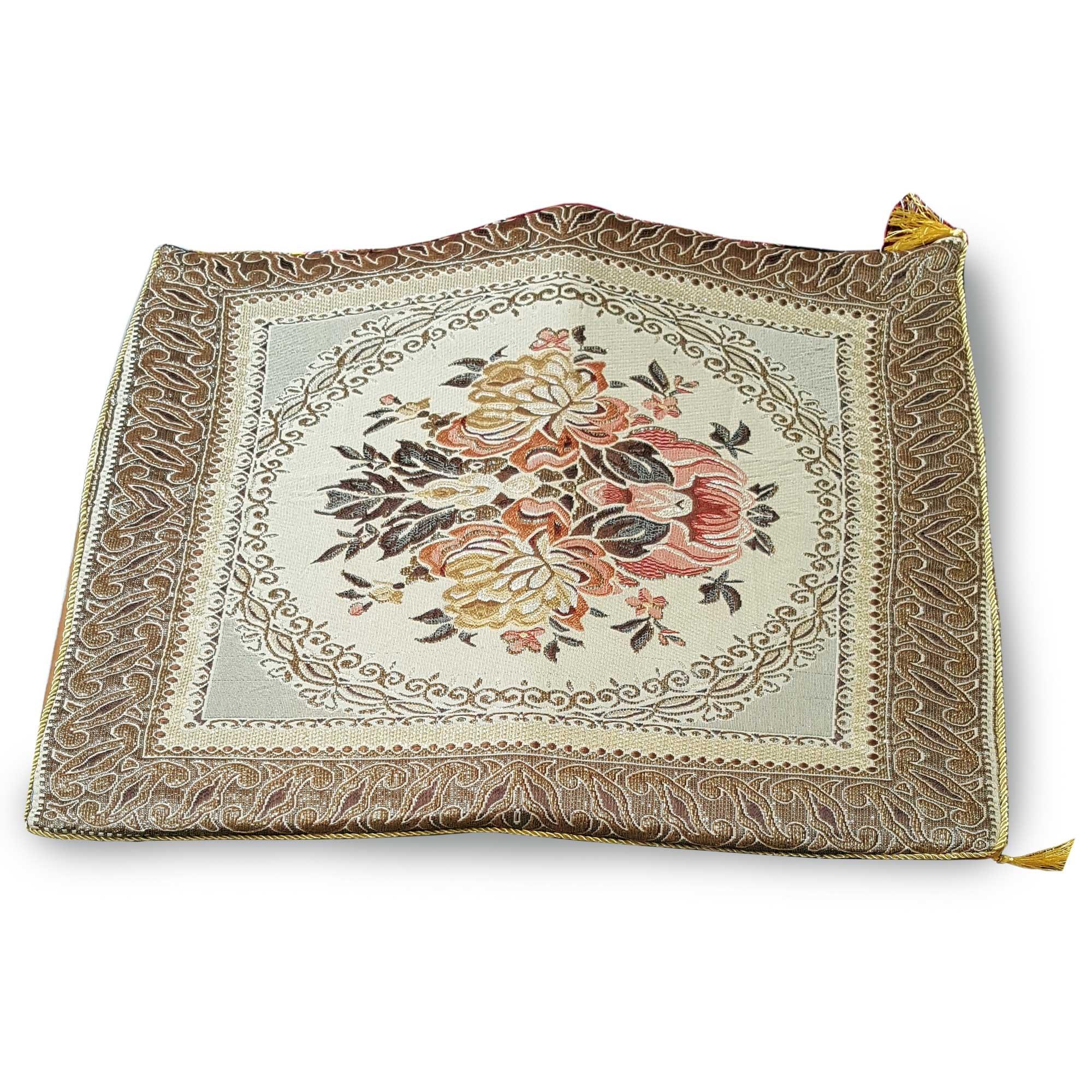 Thai asana Buddhist, meditation cushion, gold / brown size 24X24 inches