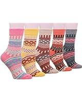 Buttons & Pleats Womens Knit Warm Wool Socks 5 Pairs