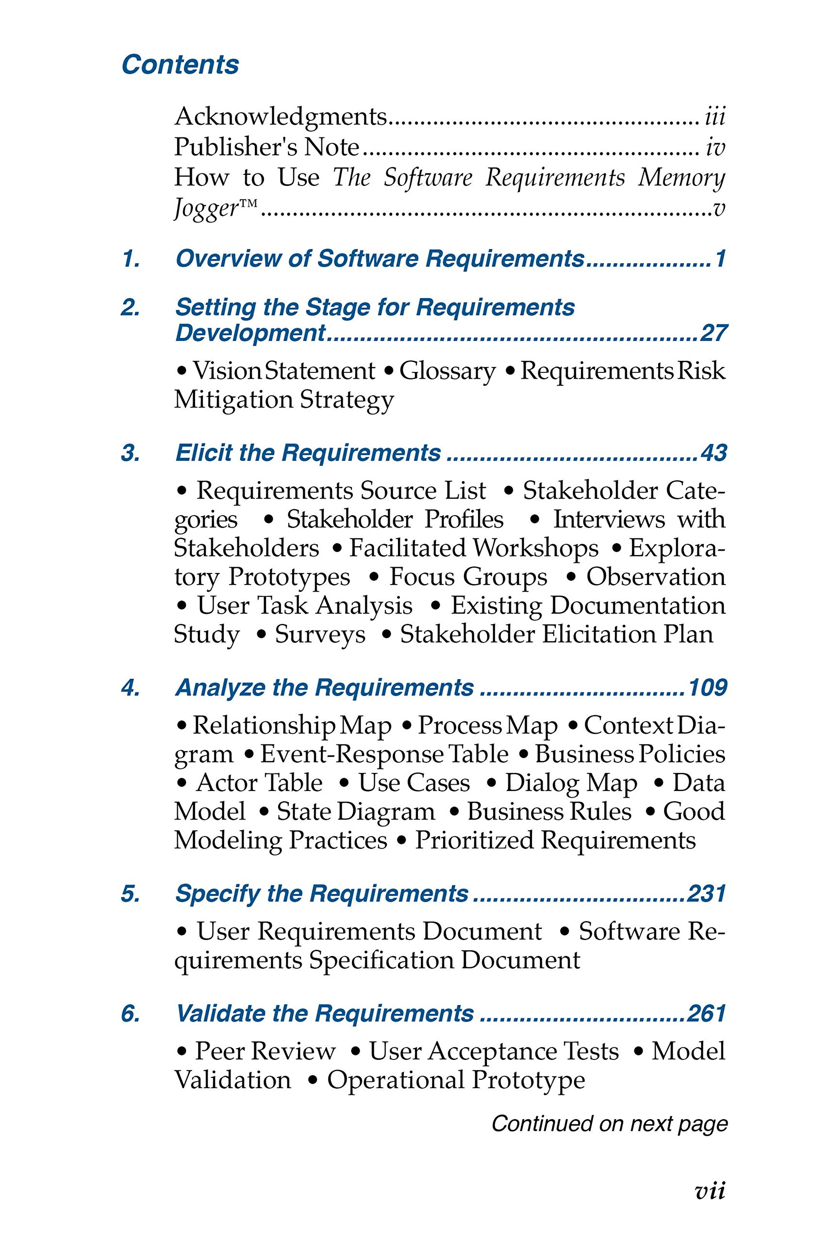 Amazoncom The Software Requirements Memory Jogger A Pocket Guide - Business requirements software