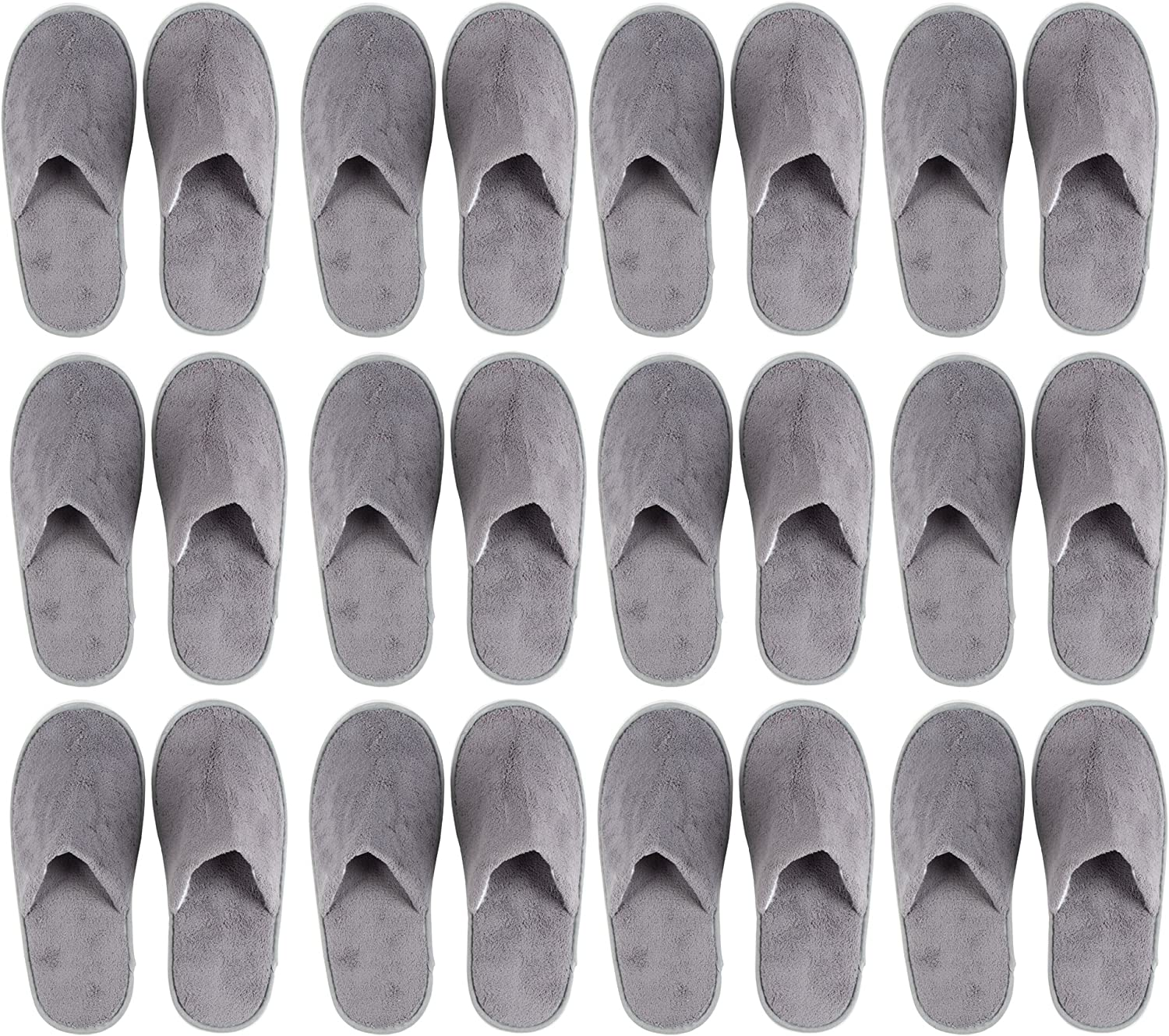 Juvale 12-Pair Disposable Slippers – Non-Slip Fleece Cloth Closed Toe Spa Slippers for Hotel, Travel, Guest and Home - Fits Up to US Men Size 11 & US Women Size 12, Gray