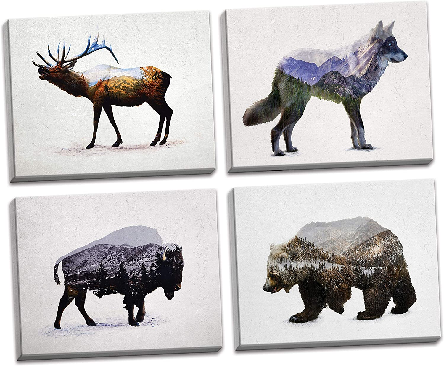 Rustic Double Exposure Elk, Bison, Wolf and Bear Landscape Set; Cabin Lodge Decor; Four 14x11in Stretched Canvases