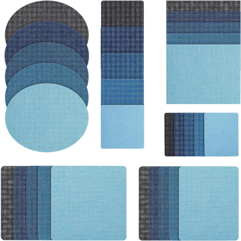 Kit de 30 Parches de Tela de Plancha Parches de Reparación de Jeans de Mezclilla de Ropa para Vaqueros Interiores y Reparación de Ropa (Azul Claro, Azul Cielo, Azul Real, Azul Oscuro, Negro)