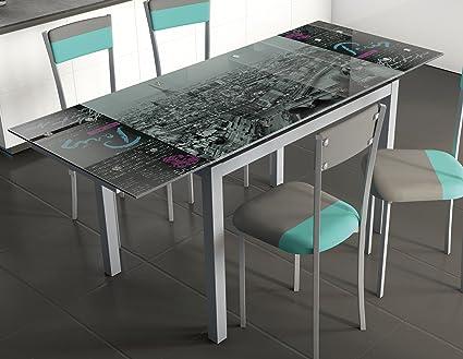 Mesa para cocina extensible de cristal con serigrafía de Paris 110 ...
