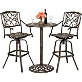 Best Choice Proucts 3-Piece Outdoor Cast Aluminum Bar Height Bistro Set for Patio, Porch w/ 2 360-Swivel Chairs…