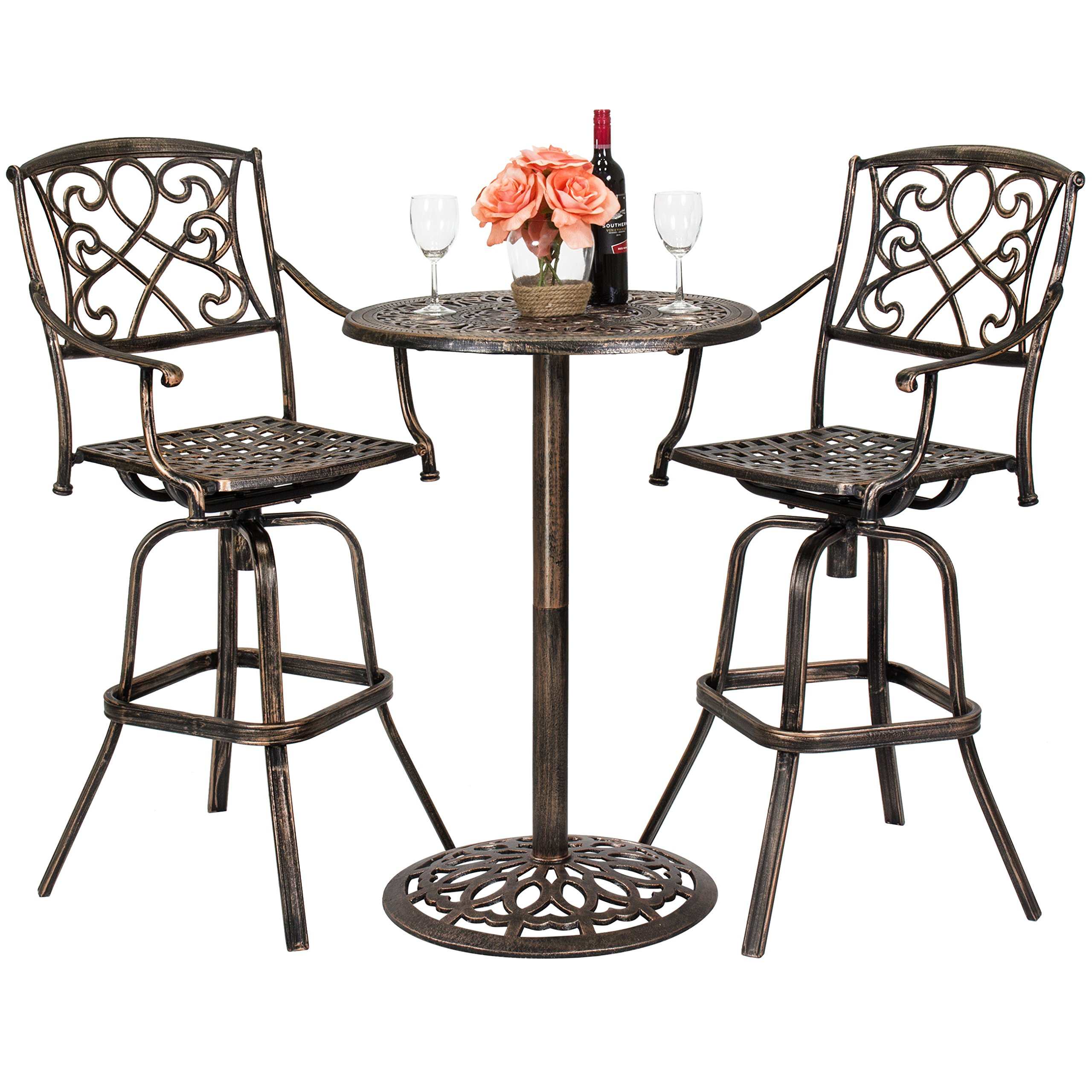 Best Choice Products 3-Piece Outdoor Cast Aluminum Bistro Set for Patio, Porch w/ 2 360-Swivel Chairs - Antique Copper