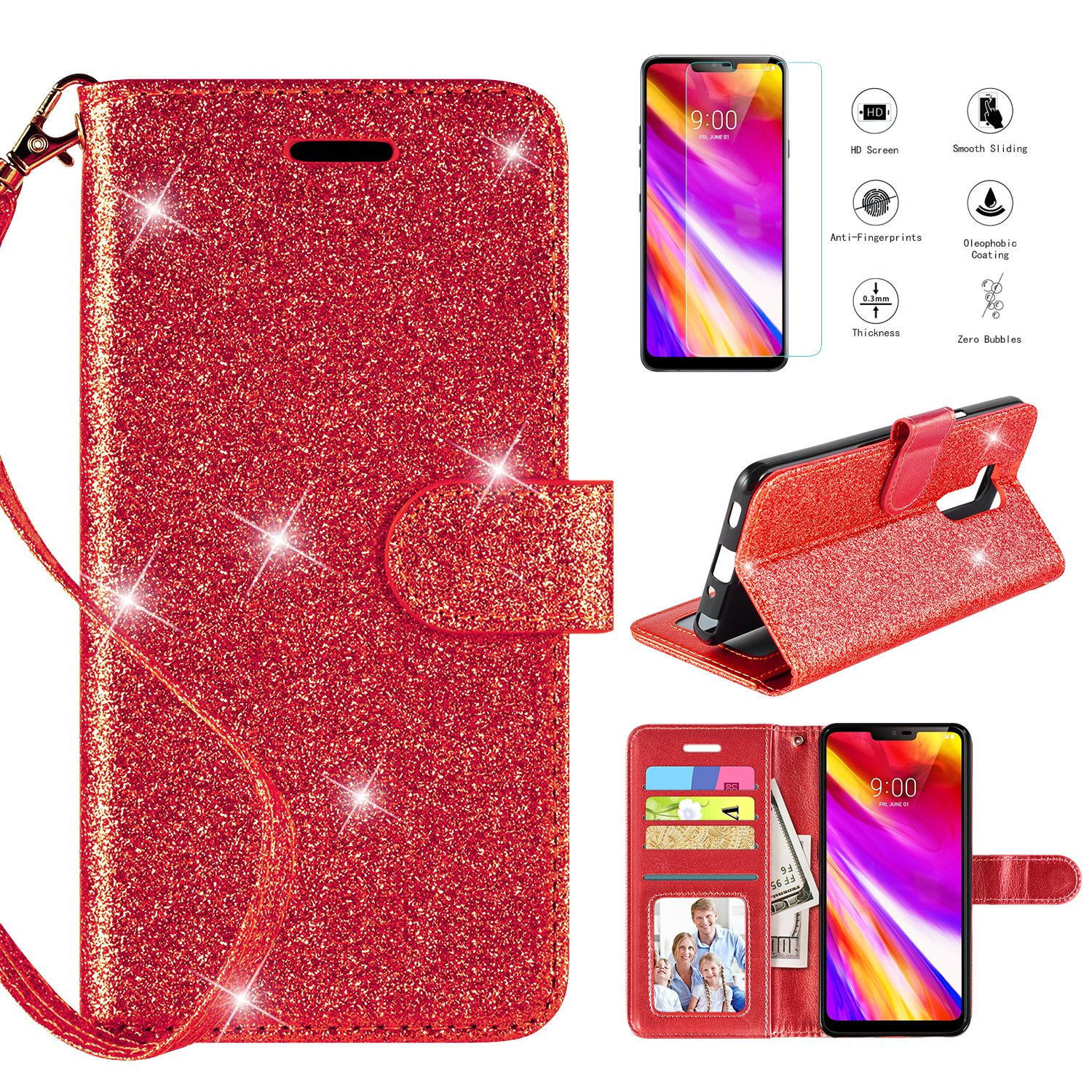 LG G7 ThinQ Wallet Case with [HD Screen Protector],Casekey [Kickstand] [Card Slots] [Wrist Strap] 2 in 1 Glitter Magnetic Flip PU Leather Wallet Cover Compatible LG G7 Thinq,Red