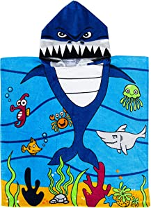 "Exclusivo Mezcla 100% Cotton Kids Baby Shark Hooded Poncho Bath/Beach/Pool Towel, 24"" x 47"""