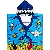 "Exclusivo Mezcla 100% Cotton Kids Baby Shark Hooded Poncho Bath/Beach/Pool Towel, 24"" x 47"""