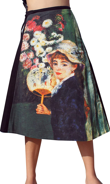 Raan Pah Muang RaanPahMuang PierreAuguste Reblack A Girl with a Fan 3 4 Length Wrap Skirt