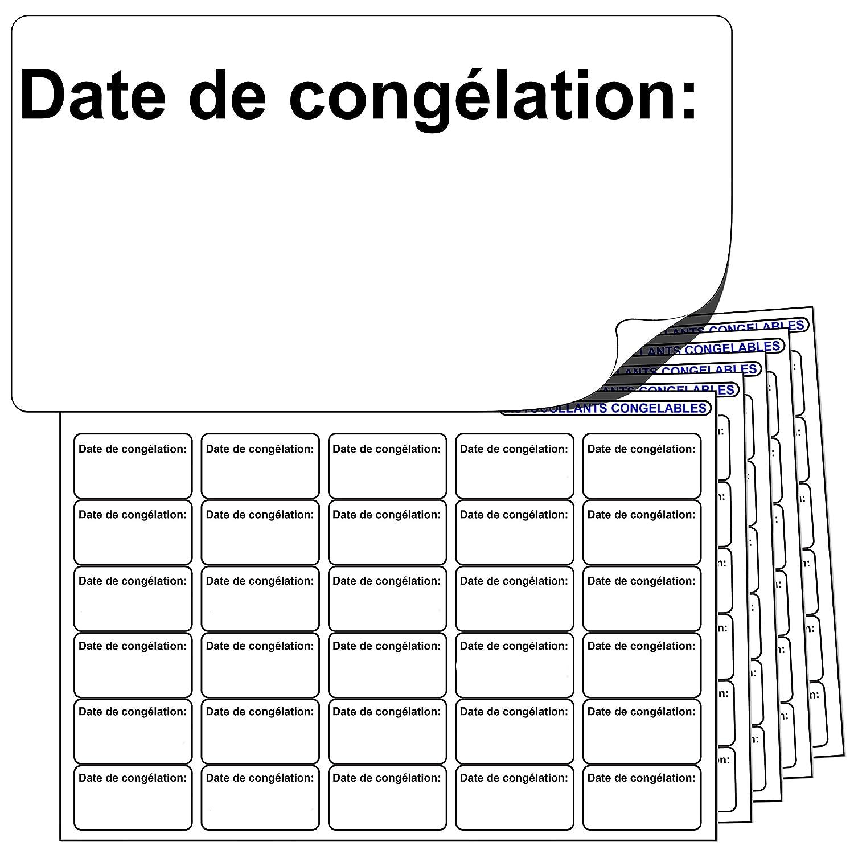 480x « Date de congélation: » AUTOCOLLANTS CONGELABLES. Compatibles avec tout stylo ou stylo à bille standard. Label Create