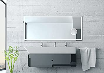Blueline LED design miroir horloge 140 x 60 cm Miroir et enceinte