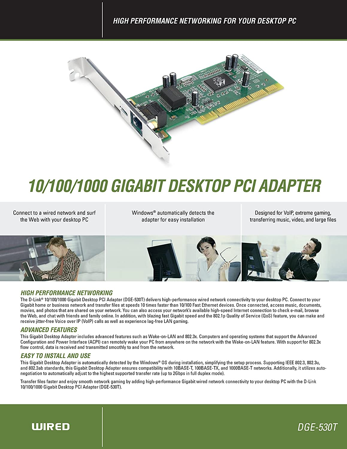 Amazon.com: D-Link DGE-530T 10/100/1000 Gigabit Desktop Adapter: Computers & Accessories