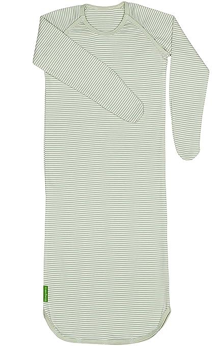 Bebé orgánico del algodón niños saco de dormir de manga larga, color verde, beige