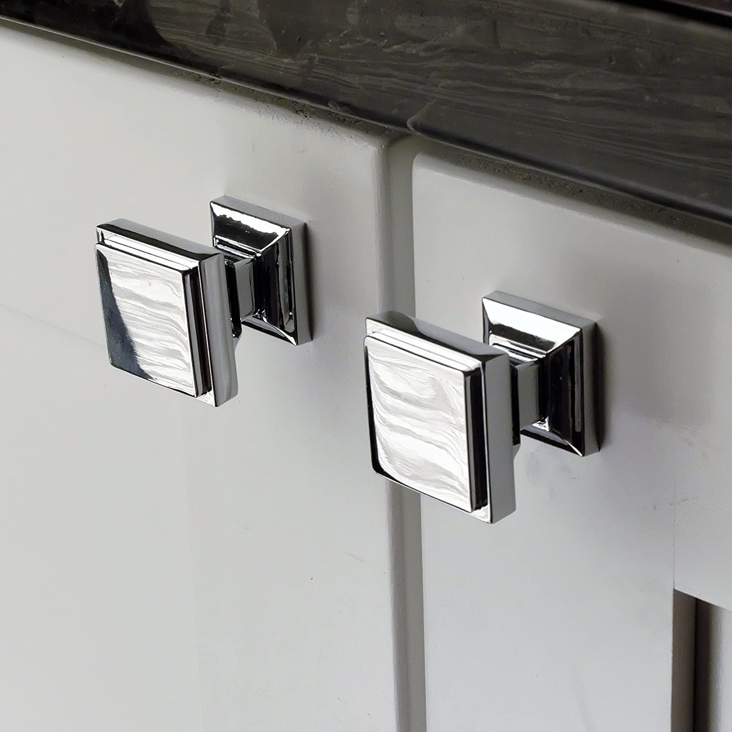 Southern Hills Polished Chrome Square Cabinet Knobs Pack Of 5 Chrome Cabinet Hardware Polished Chrome Kitchen