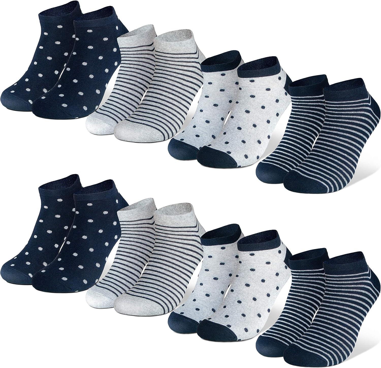 Occulto 8 Paar Damen Sneakersocken F/ü/ßlinge mehrfarbig mit Streifen Punkte und Herzen