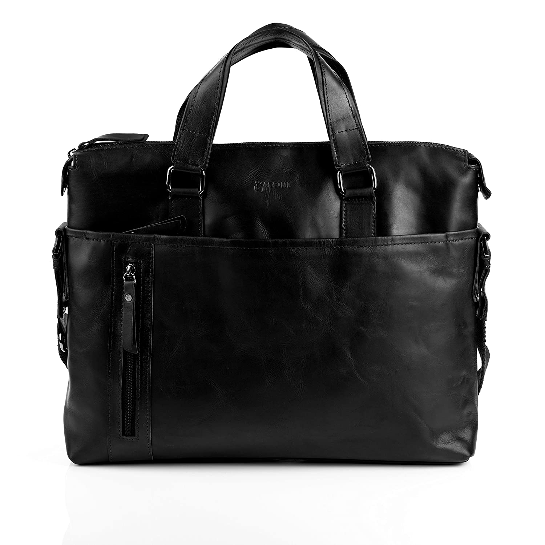 BACCINI Aktentasche LEANDRO - Laptoptasche groß fit für 15, 4 mit herausnehmbarer Schutzhülle- Businesstasche mit Schultergurt echt Leder schwarz
