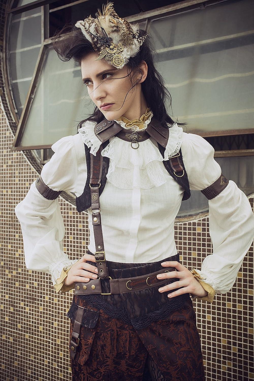 Steampunk Costume Essentials for Women Top Corest Bustier White $46.66 AT vintagedancer.com