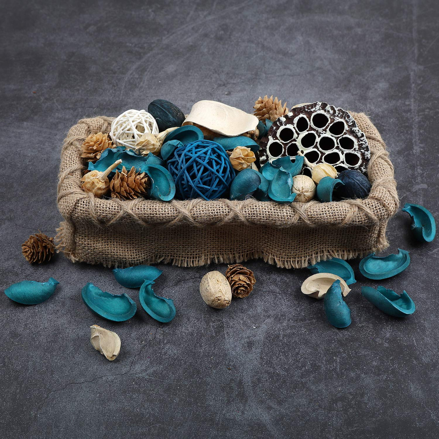 Qingbei Rina Ocean Scent Summer Potpourri Bag Decorative Perfume Sachet, Rattan Balls Lotus Pods Pine Cones Dried Flowers and Plants, 9.9 Ounce Turquoise Blue by Qingbei Rina (Image #7)