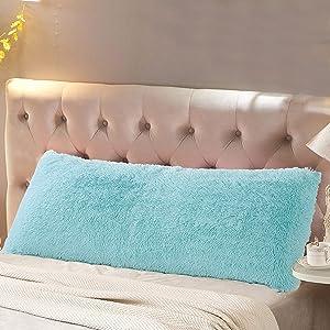 "Reafort Luxury Long Hair, PV Fur, Faux Fur Body Pillow Cover/Case 21""x54"" with Hidden Zipper Closure (Aqua, 21""X54"" Pillow Cover)"