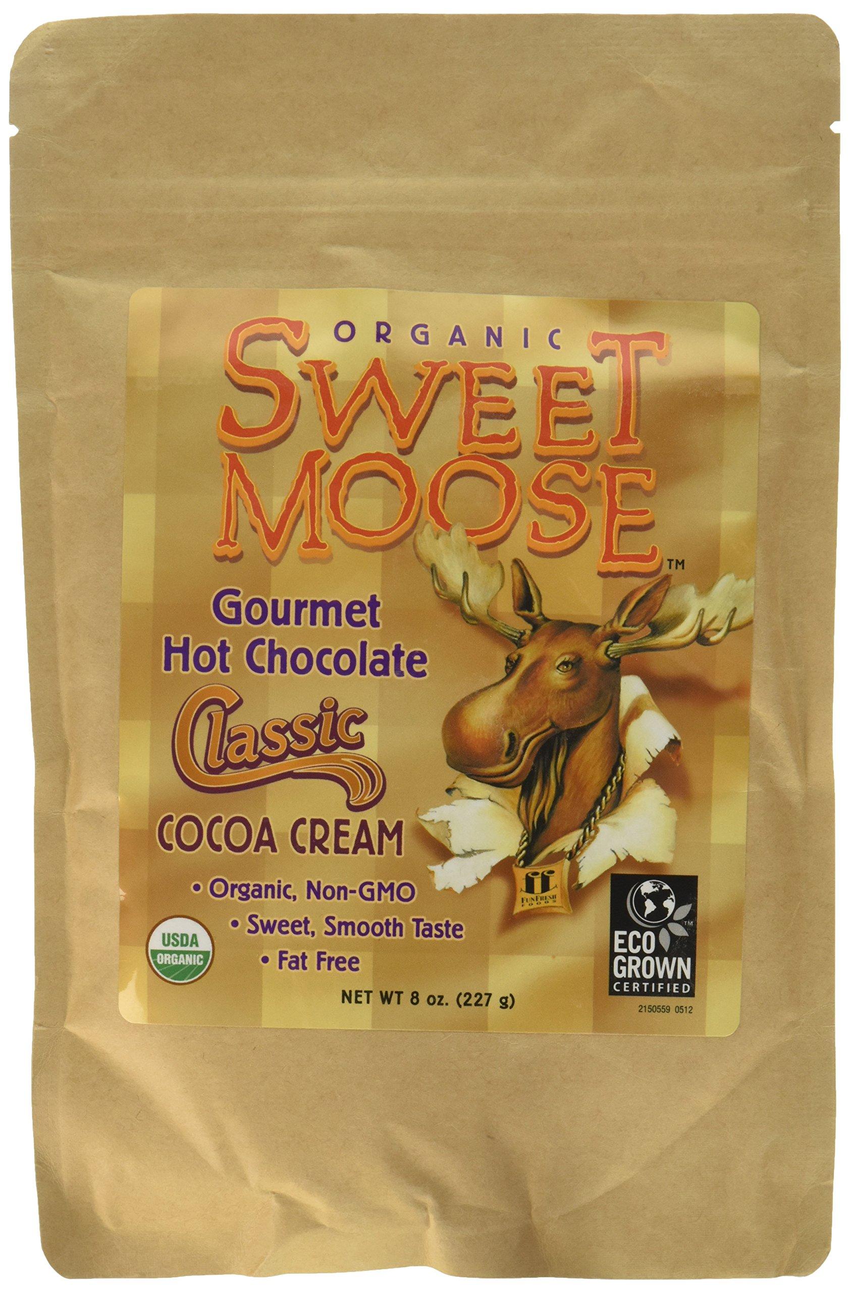 FunFresh Foods Sweet Moose Organic Gourmet Hot Chocolate/Classic Cocoa Cream Energy Strip, 2 Count