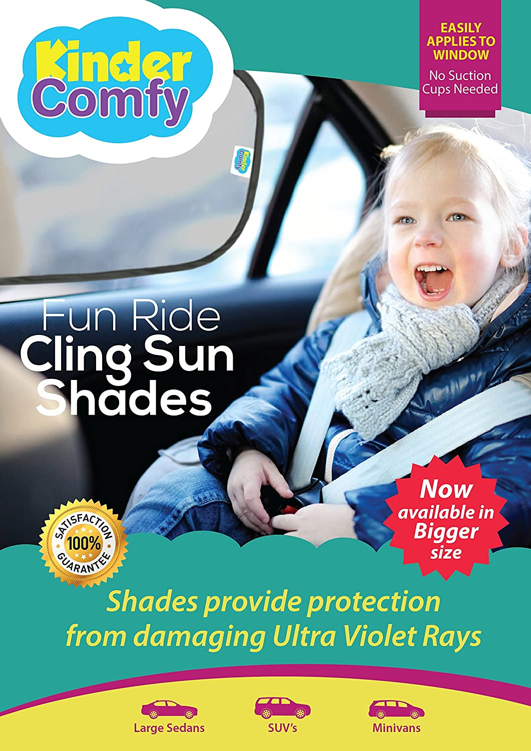 #1 Car Sun Shade (SUVs & Minivans) 2 Pack - Black Sunshade Visor Set for Babies & Kids - Clings To Rear Side Window-Cooler Car Interior- Easy Installation - Blocks 98% of UV Rays-. Bonus Gifts Kinder Comfy